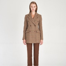 Classical Wool 100% Double Breasted Long Blazer_CHECK-TWEED [클래식 울 100% 더블브레스트 롱 블레이져]