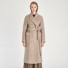Minimal Design Soft Wool Knit Gown Coat_Melange-Greige [미니멀 디자인 소프트 울 니트 가운 코트_Melange-Greige]